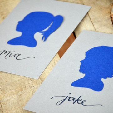 Your New Friend Sam Navy Papercut Silhouettes on Gray 094