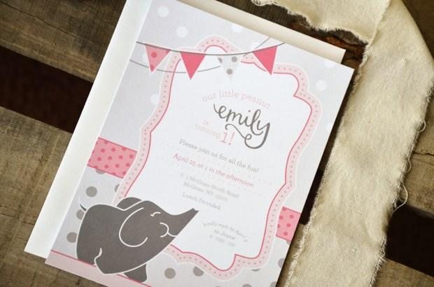 Little Peanut Elephant First Birthday Invitation