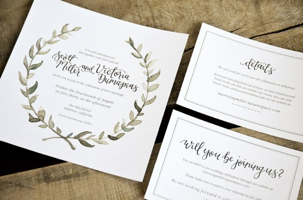 Watercolor Wreath Wedding Invitation from Your New Friend Sam