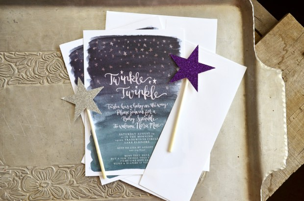 Twinkle Twinkle Baby Shower Watercolor Invitation 1