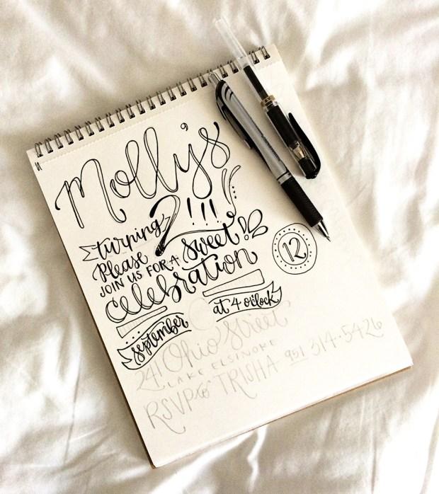 Mollys 2nd Birthday Handlettered Invitation Sketch