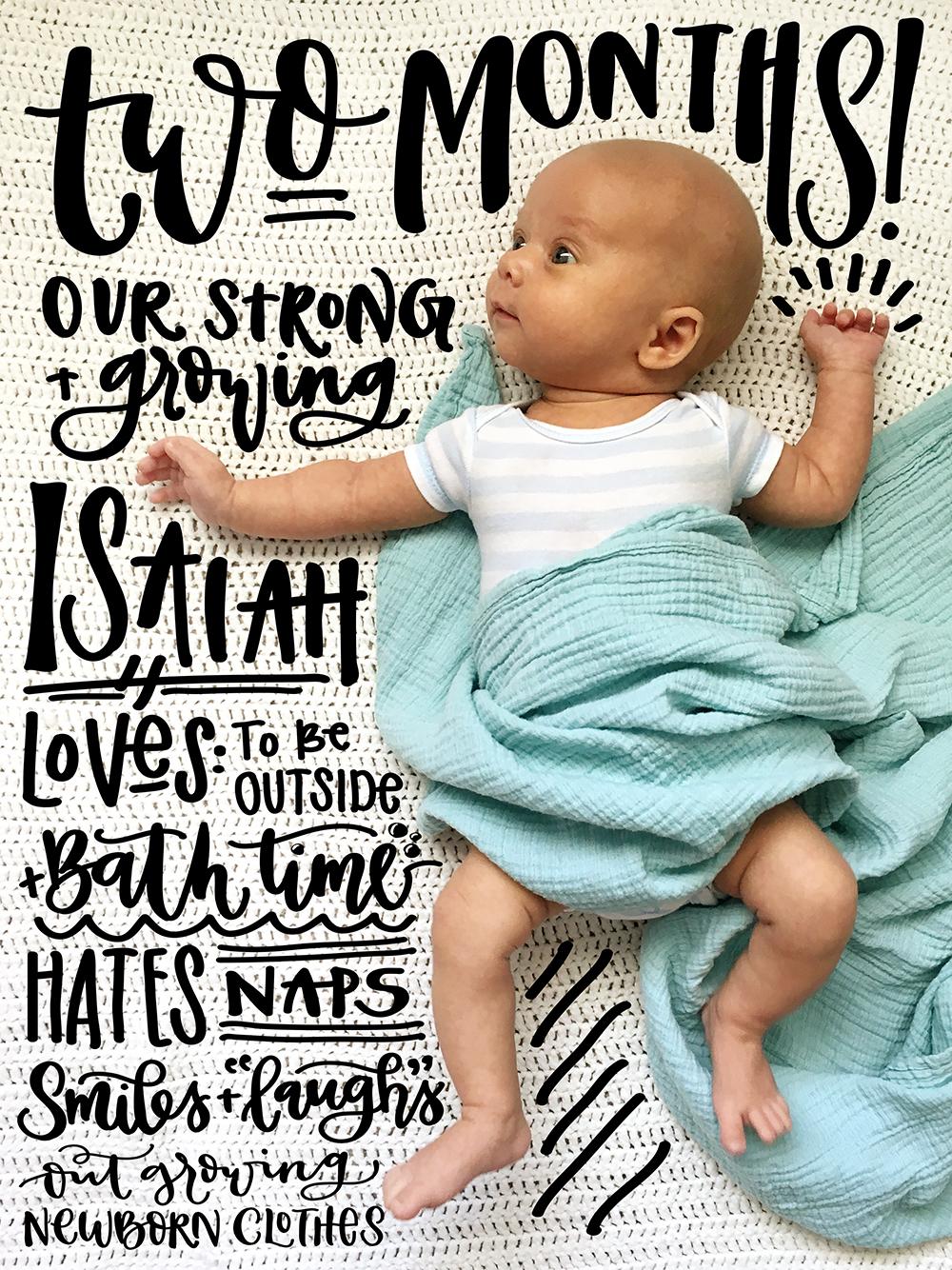 Sam Allen Creates Handlettered Isaiah Baby Two Months