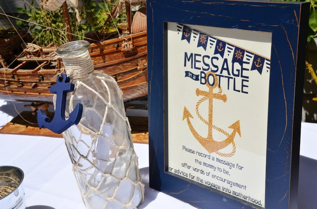 Sams Nautical Baby Shower Message in a Bottle