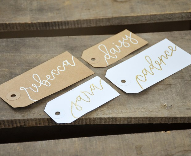 Your New Friend Sam Calligraphy Handwritten Name Tag Wedding Placecards Embossed 1