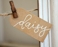 Your New Friend Sam Calligraphy Handwritten Name Tag Wedding Placecards Embossed 2