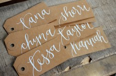 Small Kraft Tags with White Ink, Dahlia Lettering Style