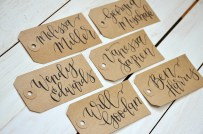 Large Kraft Tags with Black Ink, Dahlia lettering style