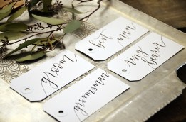 Your New Friend Sam Calligraphy Handwritten Name Tag Wedding Placecards Large White with Black Iris lettering