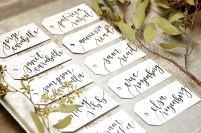 Small White Tags with Black Ink, Iris Lettering Style