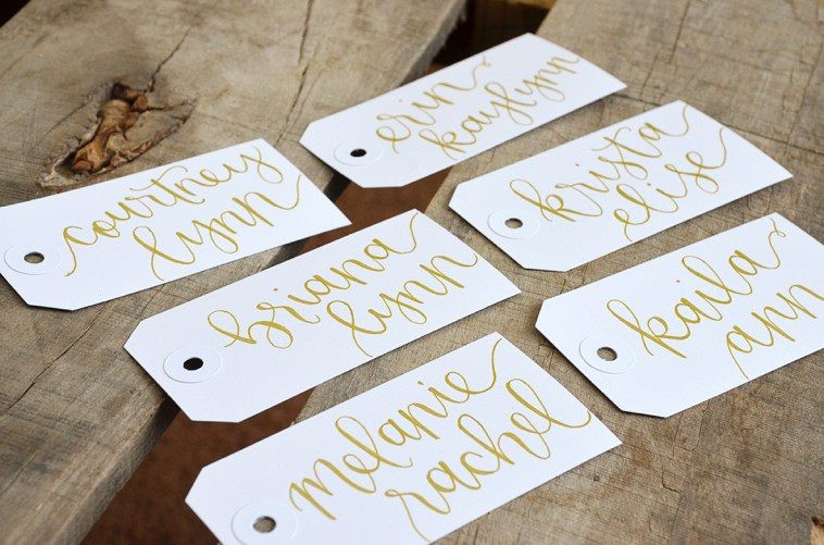 Large White Tags with Gold Ink, Honeysuckle Lettering Style