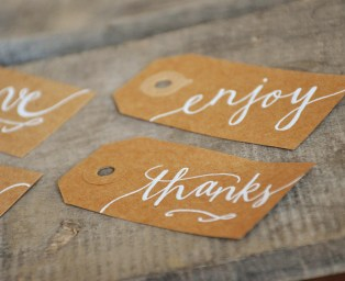 Small Kraft Tags with White Ink, Honeysuckle Lettering