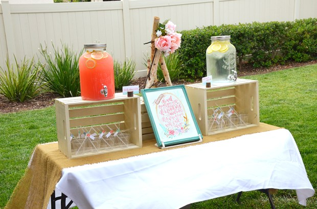 Shabby Chic Tribal Baby Shower Drink Table mason jar drink dispenser