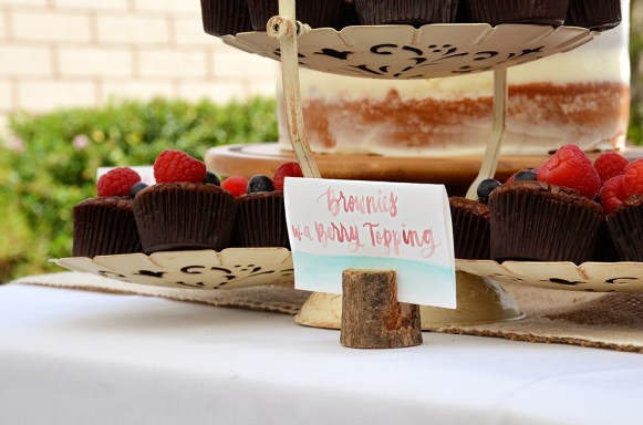 Shabby Chic Woodsy Baby Shower Cake Table Brownies with Berry Topping Watercolor Placecard