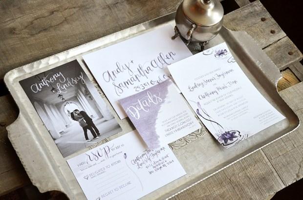 Sam Allen Creates Watercolor Weddng Invitation Suite Water Lily