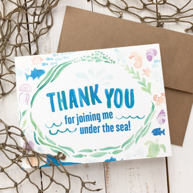 Sam Allen Creates - Isaiah's First Birthday Thank You Card - Under the Sea Birthday - Watercolor Birthday