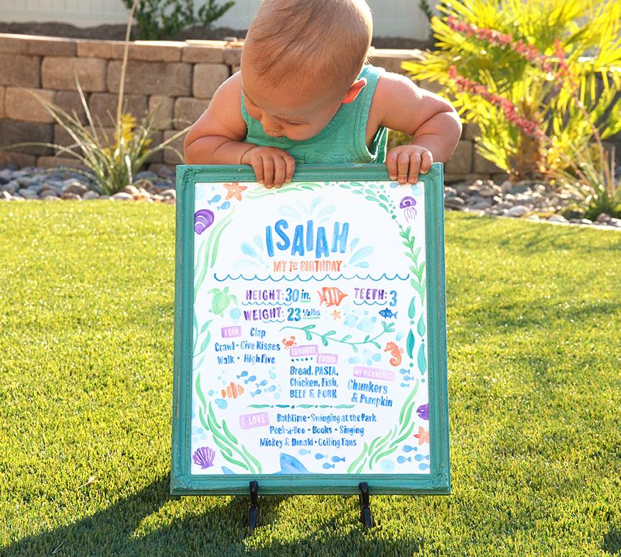 Sam Allen Creates – Isaiah's First Birthday – Under the Sea Birthday One Year Poster 5