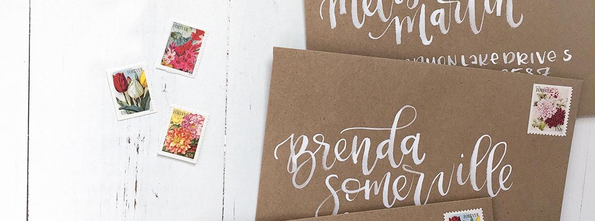 Sam Allen Creates Watercolor Envelope Addressing Bridal Shower featured