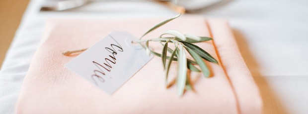 Sam Allen Creates Wedding Placecard Tags, Photo by Michael Costa