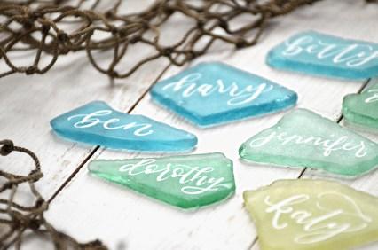 Sam Allen Creates Wedding placecards sea glass detail