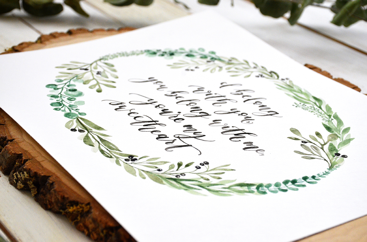 Sam Allen Creates Custom Watercolor Painting with Botanical Wreath Detail