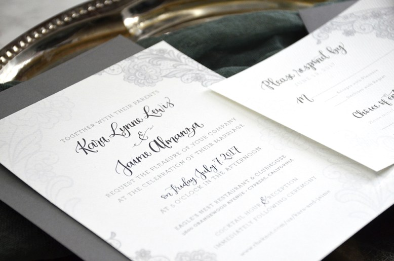 Sam Allen Creates Gray Lace Wedding Invitation Detail