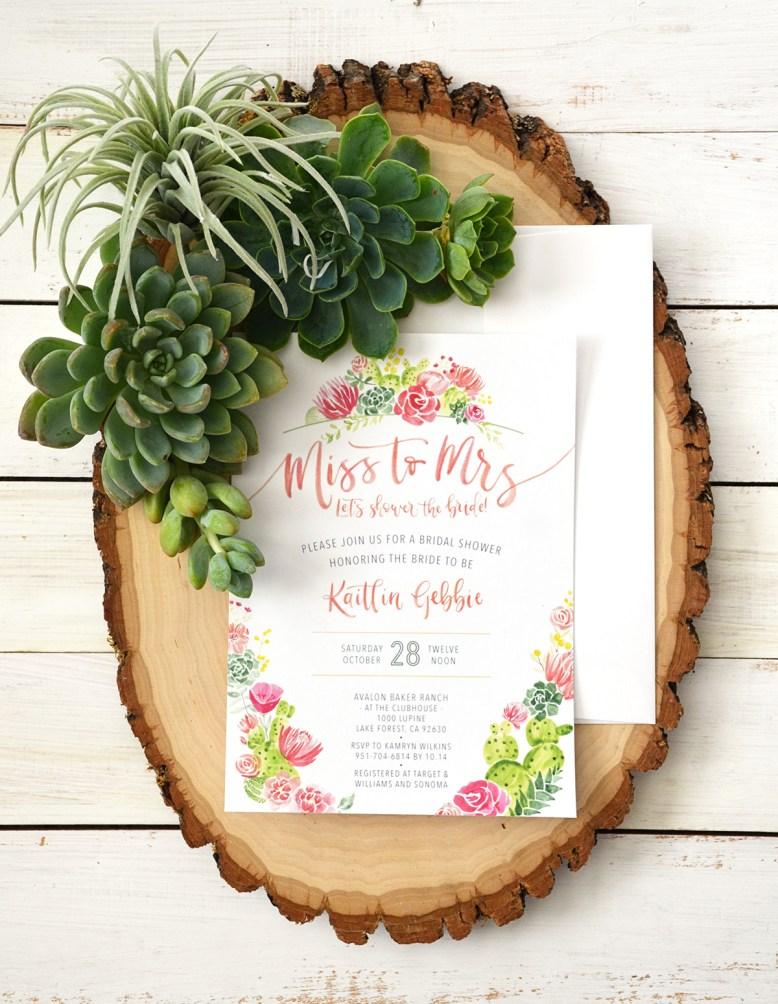 Sam Allen Creates Watercolor Succulent Cacti Bridal Shower Invitation