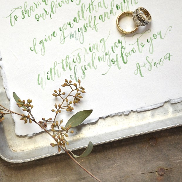 Sam Allen Creates Personal Wedding Vows Artwork on fabulous Fancy Pants paper