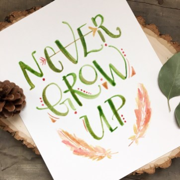 Sam Allen Creates Peter Pan Fan Art Watercolor Painting Never Grow Up Nursery Art
