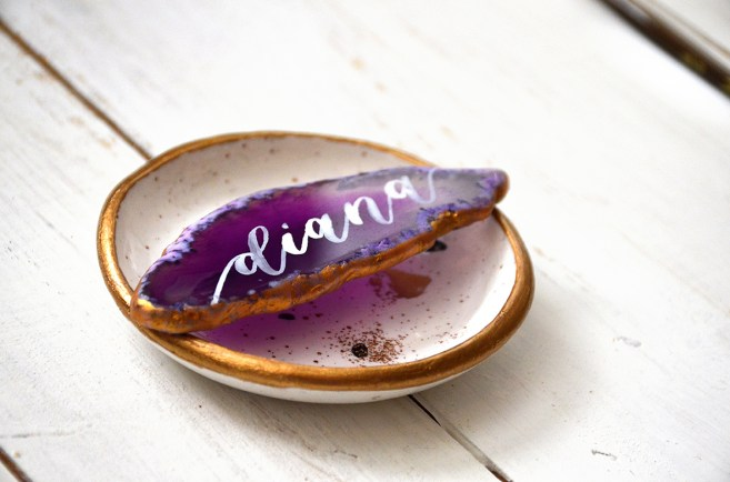 Sam Allen Creates Purple Agate Placecards for Thanksgiving or Weddings detail