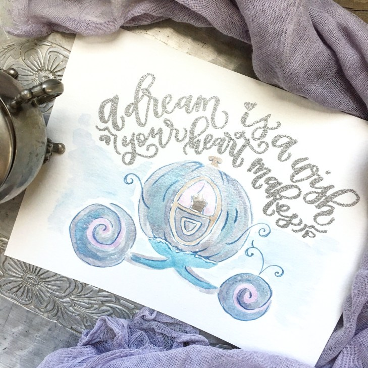 Sam Allen Creates Walt Disney's Cinderalla Fan Art, Watercolor Painting