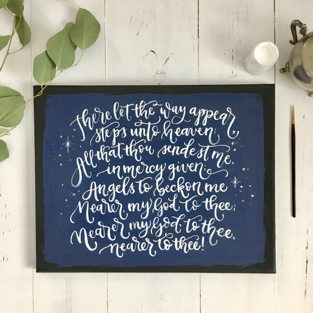 Sam Allen Creates Watercolor Canvas of Titanic Last Song Lyrics - Nearer my God to Thee