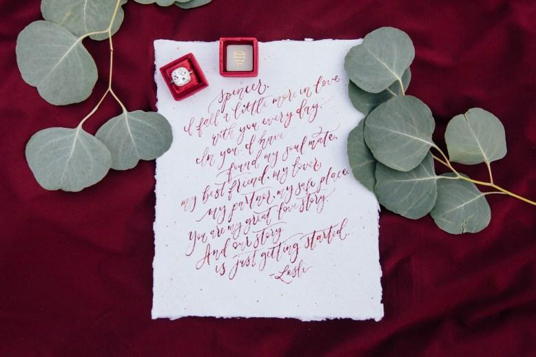 Sam ALlen Creates Handwritten Wedding Vow Calligraphy on Handmade Paper resslerphotographyweddings Julian_Elopement-20180106-0332