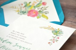 Sam Allen Creates - Boho Wedding Invitation with Watercolor Succulents and Flowers Detail 2
