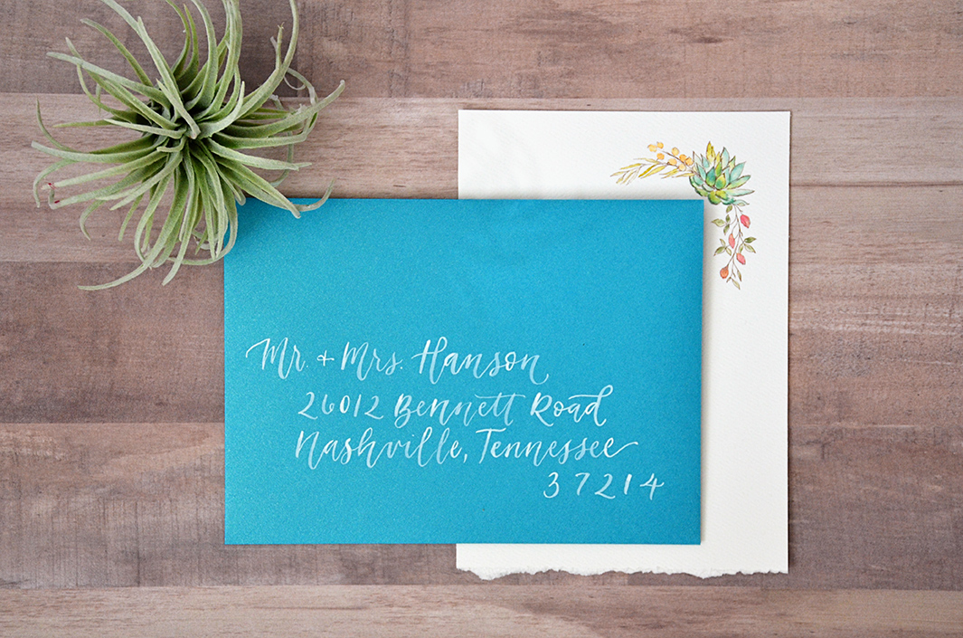 Sam Allen Creates – Boho Wedding Invitation with Watercolor Succulents and Flowers – Envelope Addressing