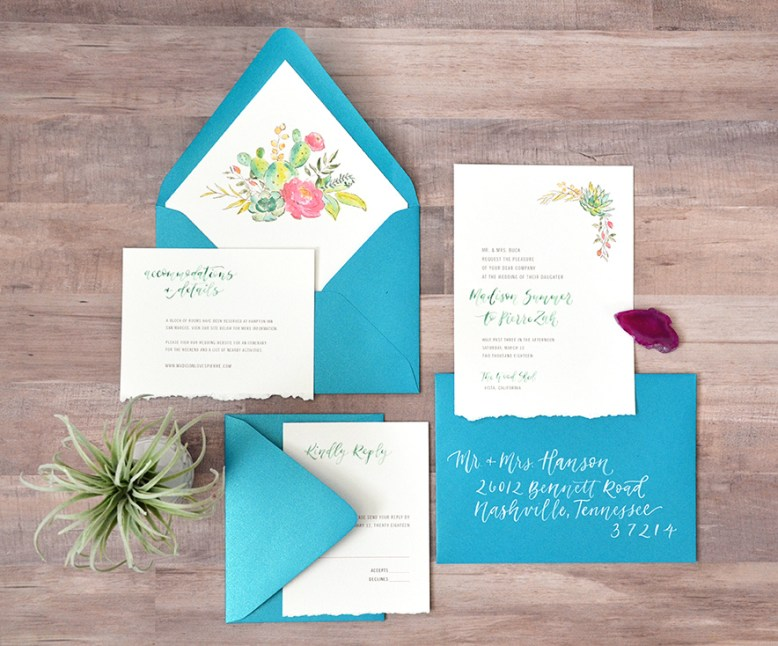 Sam Allen Creates - Boho Wedding Invitation with Watercolor Succulents and Flowers Flatlay