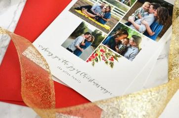 Sam Allen Creates Custom Christmas Card with Poinsetta Floral Wreath and Gold Foil detail