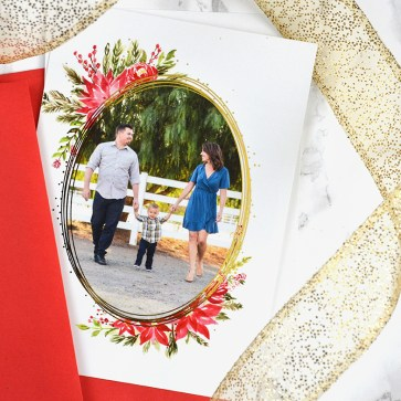 Sam Allen Creates Custom Christmas Card with Poinsetta Floral Wreath and Gold Foil