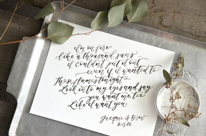 Sam Allen Creates Watercolor Calligraphy Wedding Vows Art