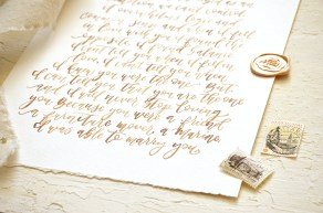 Sam Allen Creates - Watercolor Handpainted Wedding Vows in Walnut Ink Detail