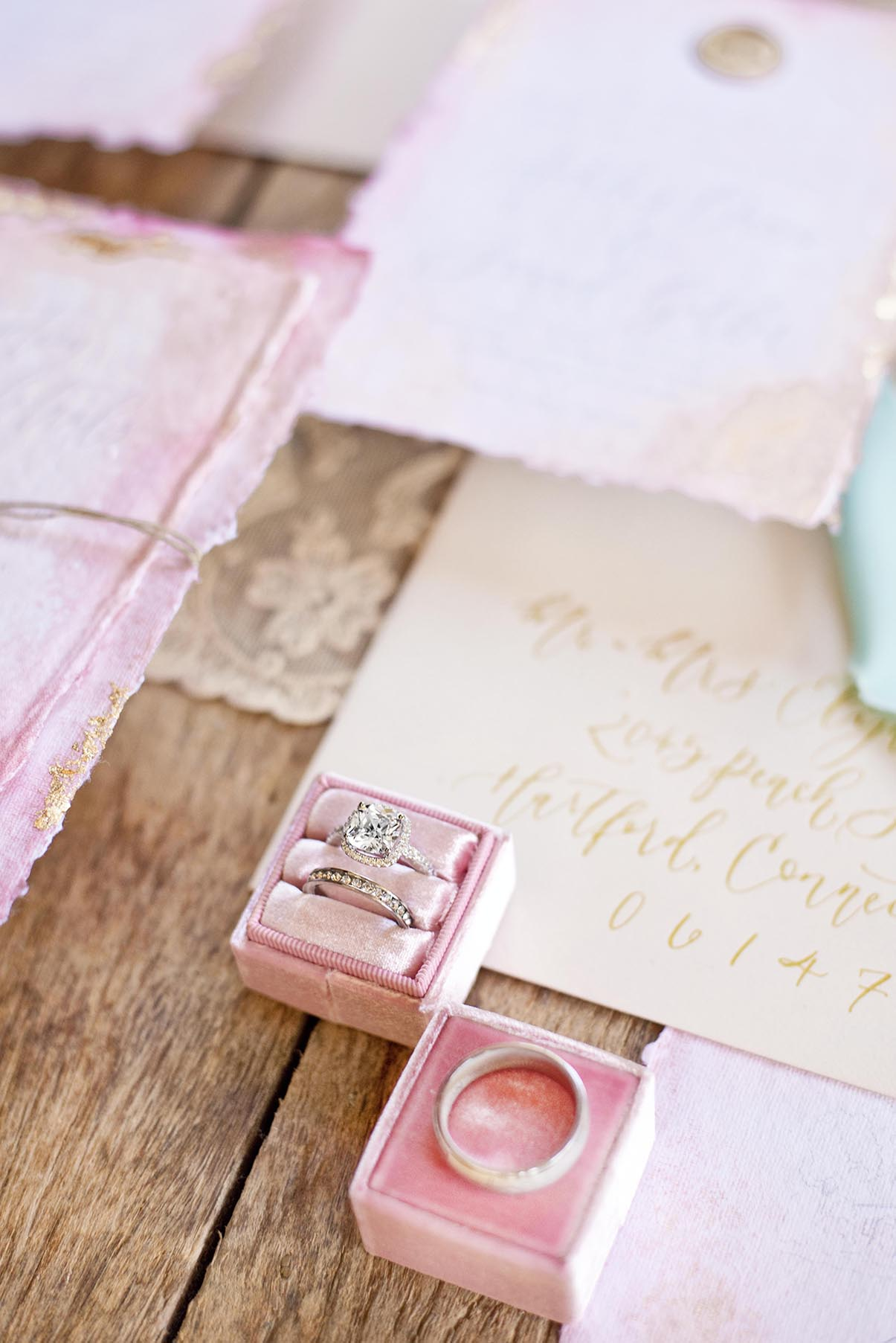 Sam Allen Creates Watercolor Wash Wedding Invitation at Grace Winery, Photography and Styling by Abbe Foreman detail