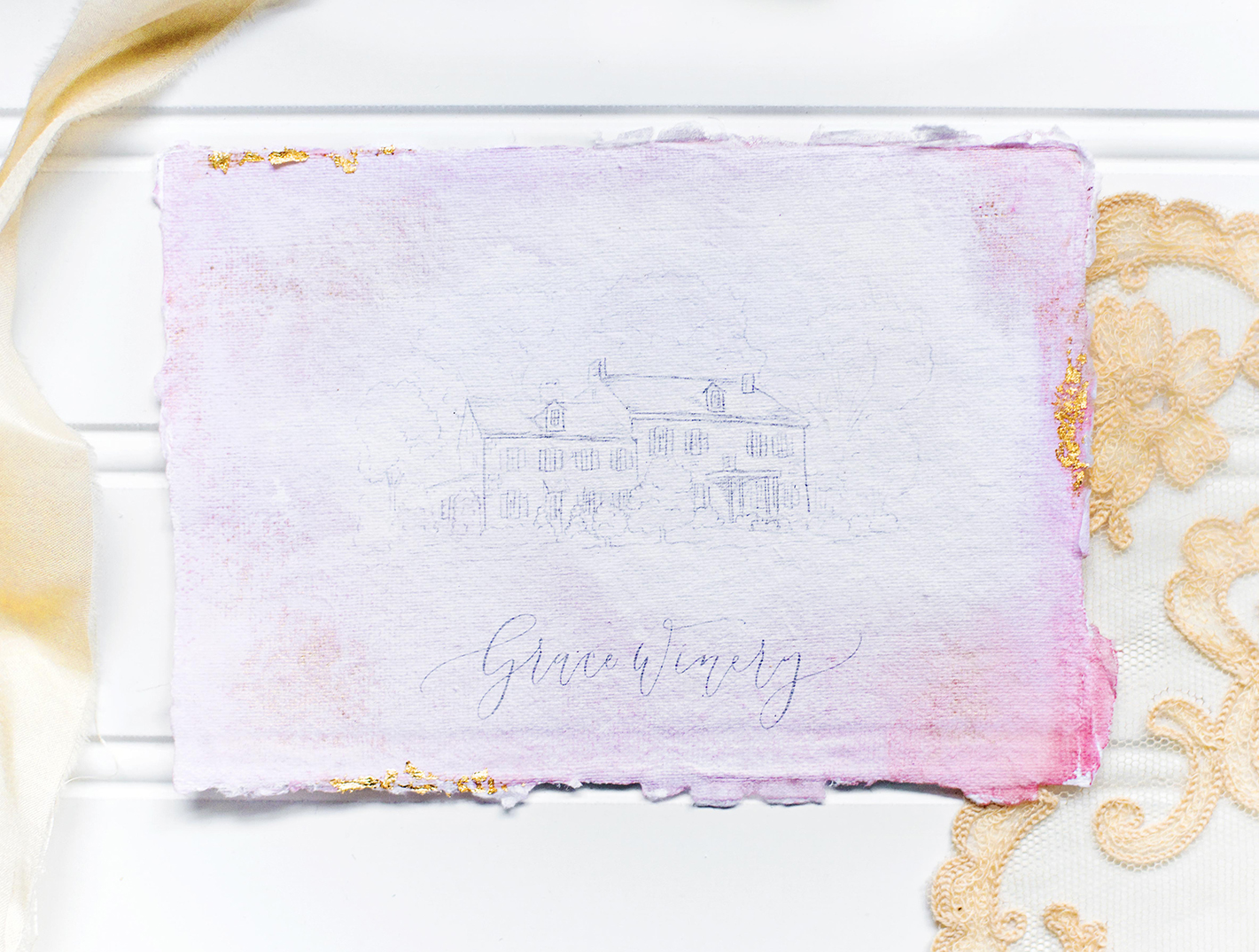 Sam Allen Creates Watercolor Wash Wedding Invitation at Grace Winery, Photography and Styling by Abbe Foreman – Grace Winery Wedding Venue Sketch