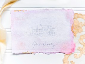 Sam Allen Creates Watercolor Wash Wedding Invitation at Grace Winery, Photography and Styling by Abbe Foreman - Grace Winery Wedding Venue Sketch