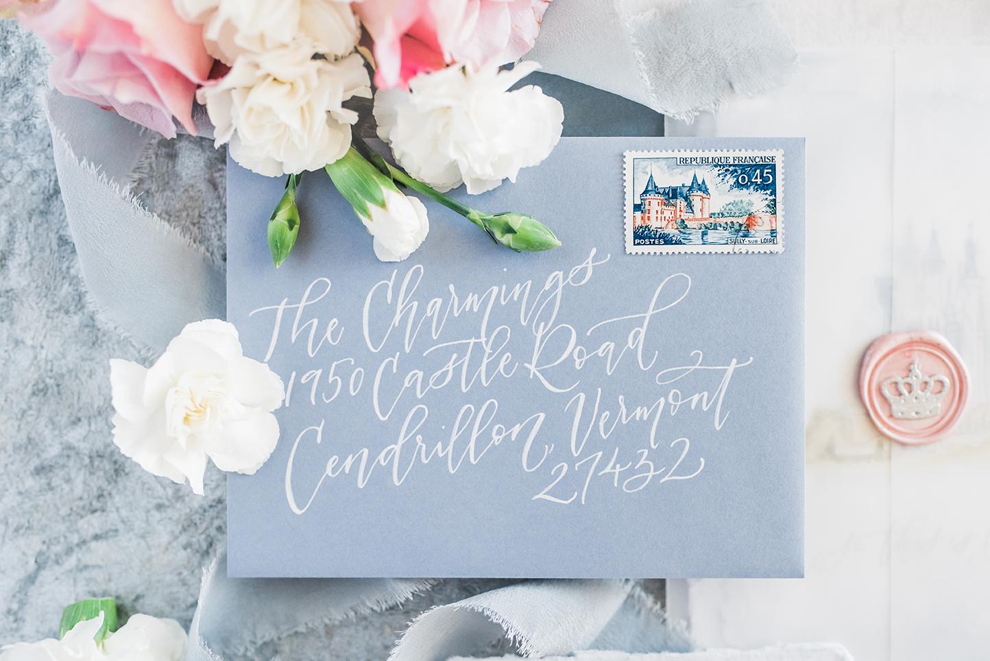 Sam Allen Creates – Disney Inspired Cinderella Wedding Invitation – Reply Card Envelope Addressing