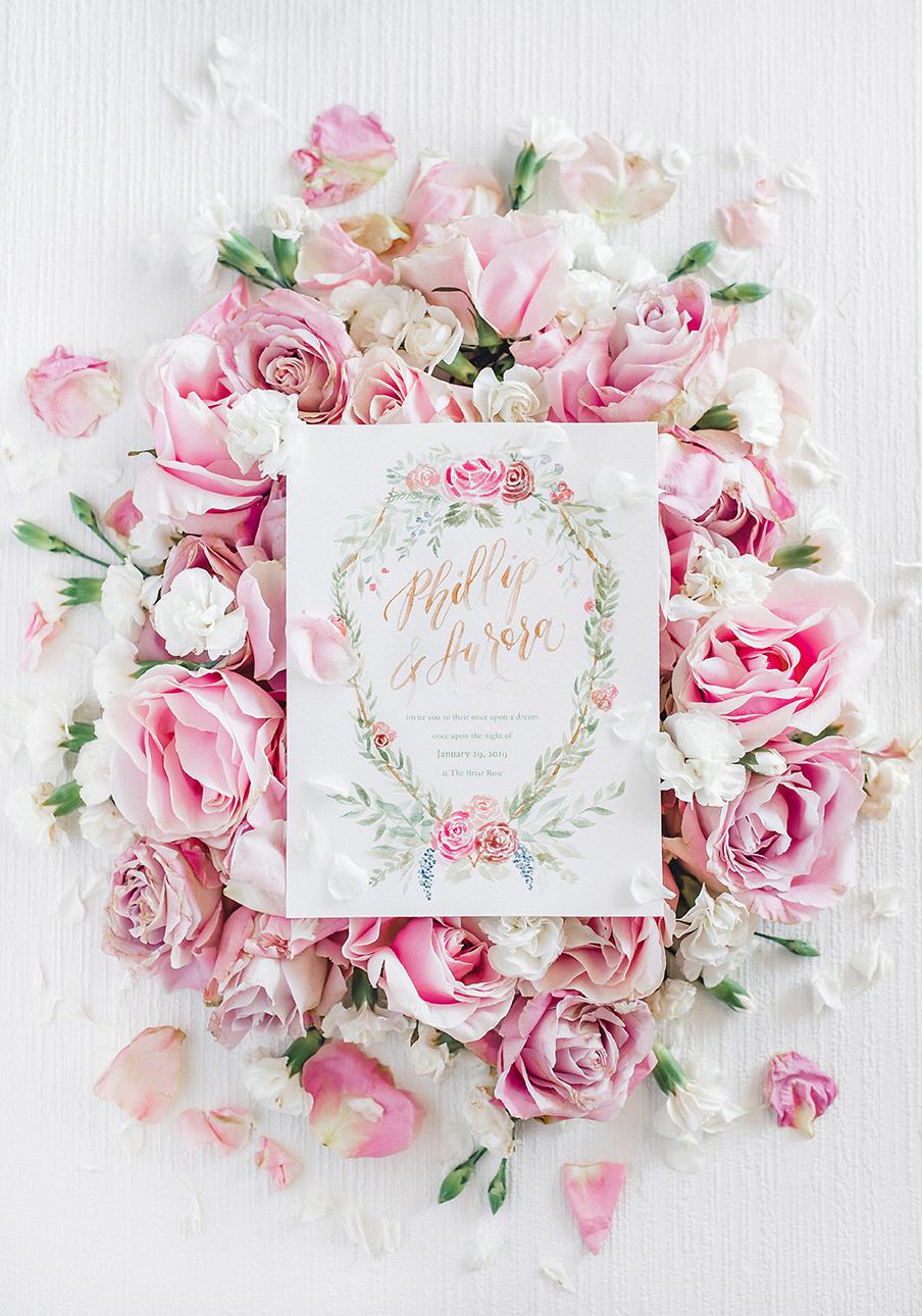 Sam Allen Creates – Disney Inspired Sleeping Beauty Wedding Invitation – Invitation Rose Bed