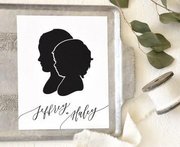 Sam Allen Creates - Handdrawn Siblings Papercut Silhouettes