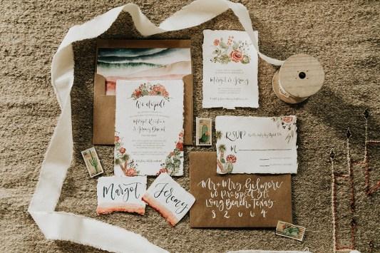 Sam Allen Creates - Watercolor Boho Wedding Invitation - Joshua Tree-Invitation Flatlay - photo by Molly McElenney