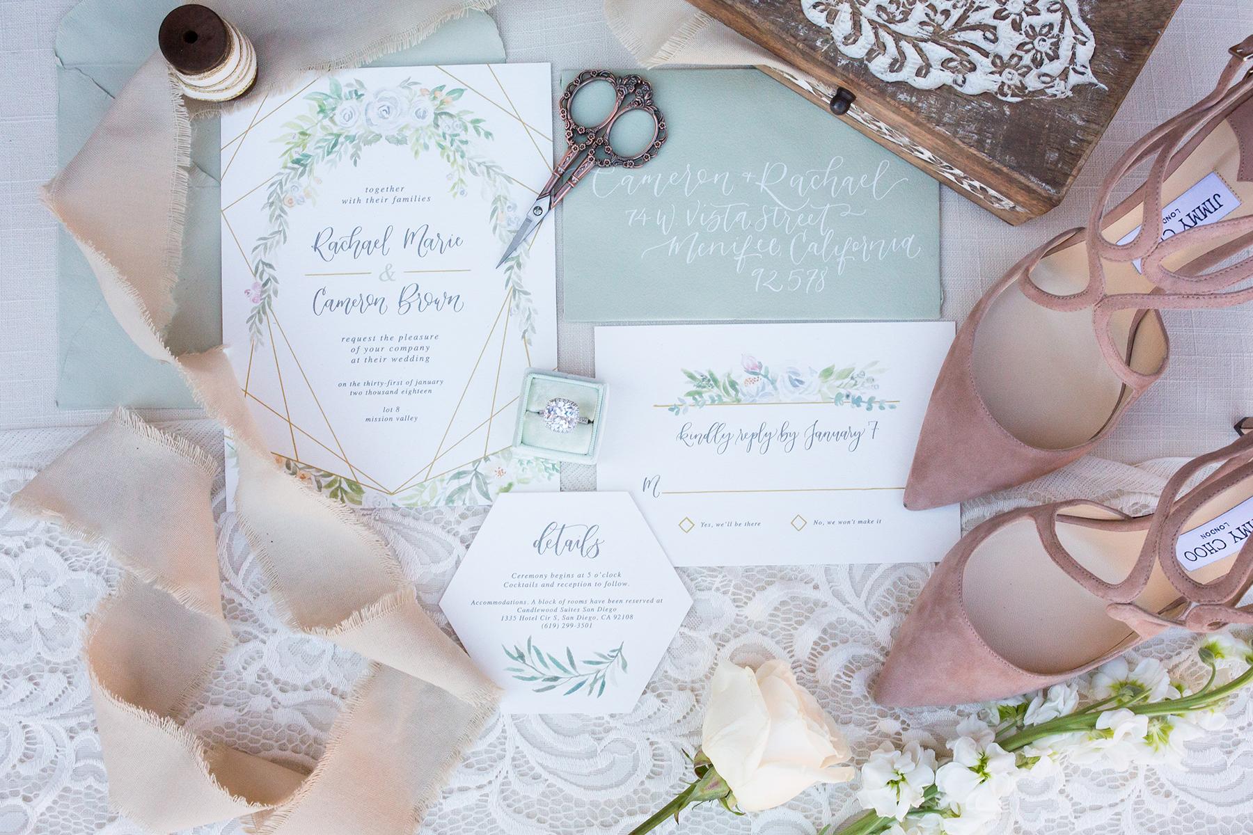 Sam Allen Creates – Watercolor Floral Wedding Invitation Flatlay – photo by CarstenTicePhotography