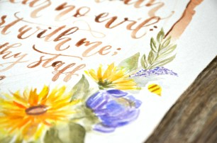 Sam Allen Creates - Psalm 23 Sunflower Watercolor Painting Detail1