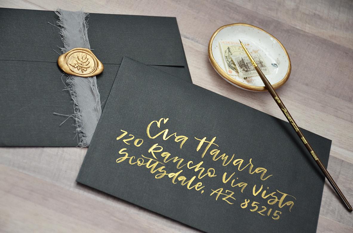 Sam Allen Creates – Wedding Invitation Envelope Addressing – Gold brush calligraphy on Black