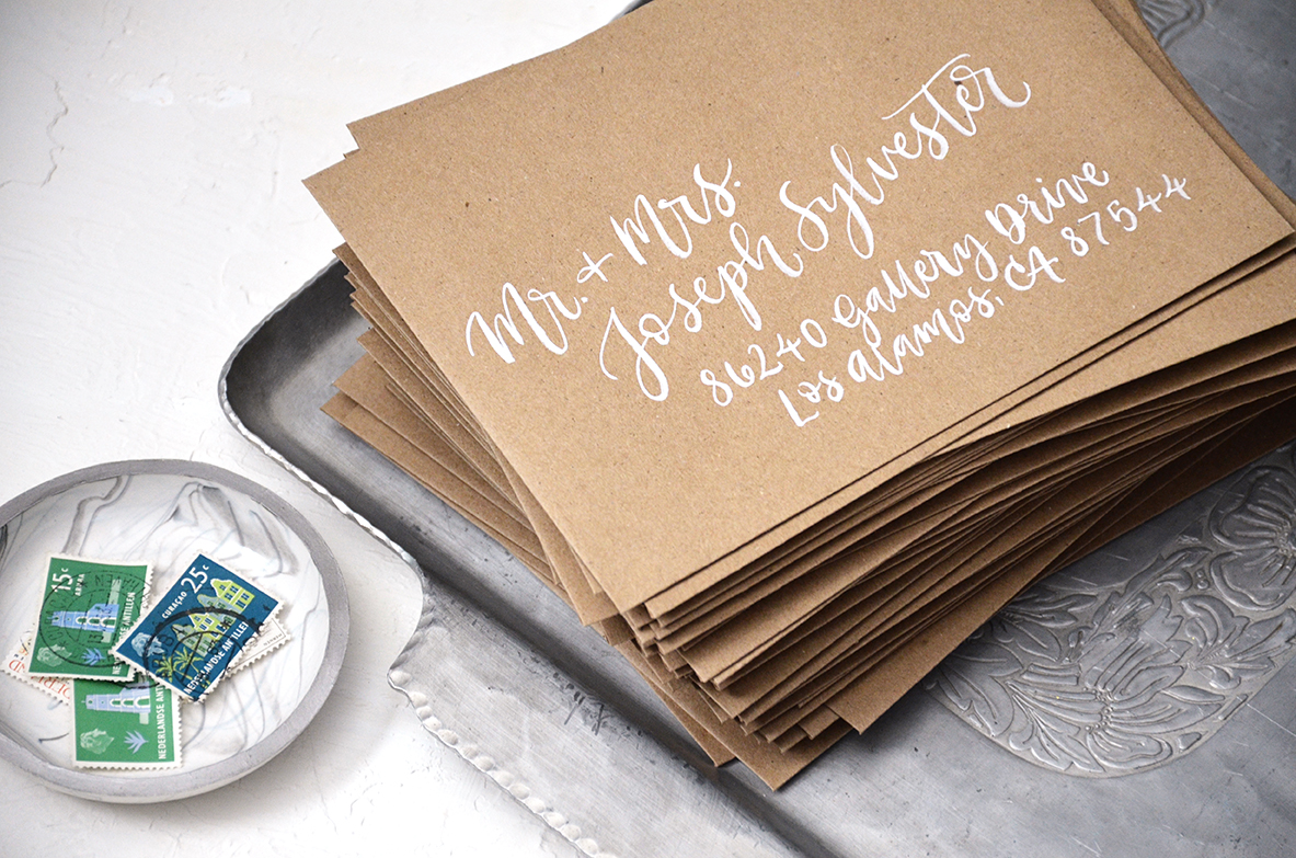 Sam Allen Creates – Wedding Invitation Envelope Addressing – White brush calligraphy on Kraft